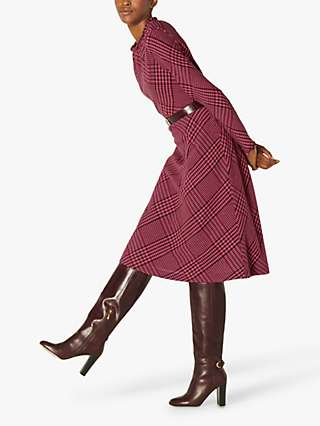 L.K.Bennett Katie Wool Blend Check Midi Dress, Pink/Burgundy