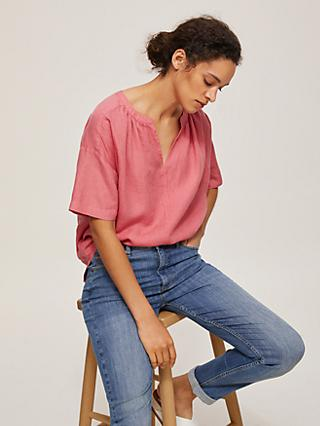 John Lewis & Partners Linen Open Neck Top