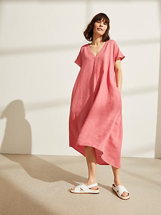 John Lewis & Partners Linen Eliptical Hem Dress, Rose Pink