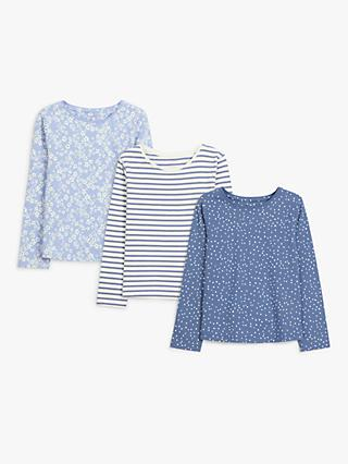 John Lewis & Partners Kids' Long Sleeve Cotton Tops, Pack of 3, Blue/Multi