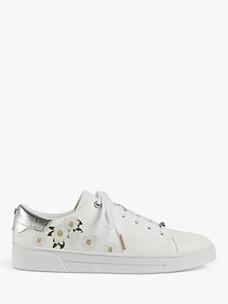 Ted Baker Adia Floral Embroidered Leather Trainers, White
