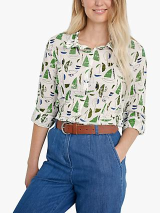 Seasalt Larissa Long Sleeve Graphic Print Shirt, White/Green