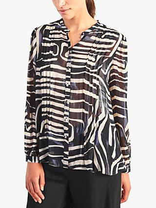 Jigsaw Linear Crinkle Abstract Top, Navy