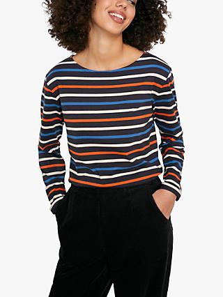 Seasalt Sailor Stripe Long Sleeve Organic Cotton Top, Breton Midnight
