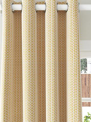John Lewis & Partners Alda Weave Pair Lined Eyelet Curtains