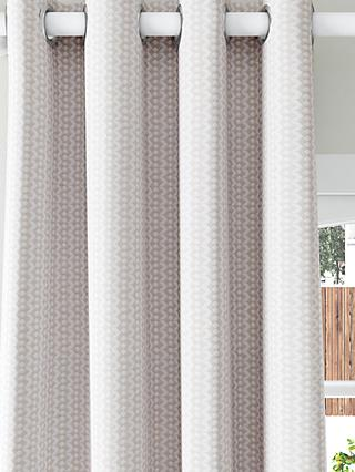 John Lewis & Partners Alda Weave Pair Lined Eyelet Curtains, Putty