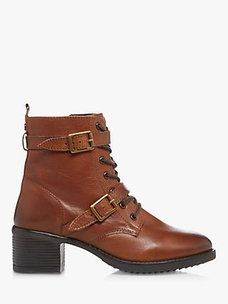 Dune Paxtone 2 Leather Buckle Detail Heeled Ankle Boots