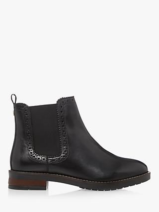 Dune Quick Leather Brogue Detail Chelsea Ankle Boots