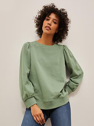 AND/OR Isabelle Organic Cotton Sweatshirt, Hedge Green