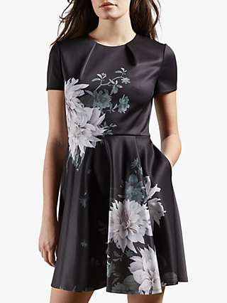 Ted Baker Luicy Floral Print Mini Dress, Black