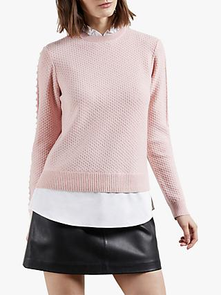 Ted Baker Teaggan Frill Detail Mockable Jumper, Light Pink