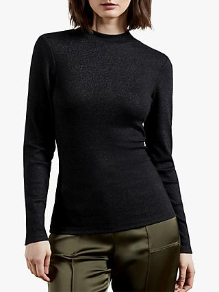 Ted Baker Stormie Glitter Ribbed Top, Black