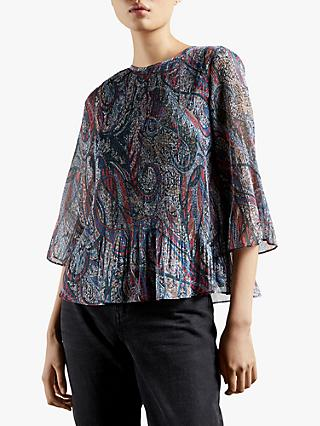 Ted Baker Beaatha Abstract Paisley Print Top, Teal