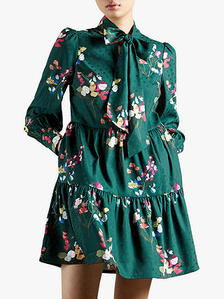 Buy Ted Baker Alinaa Floral Print Tiered Mini Dress, Mid Green, 8 Online at johnlewis.com