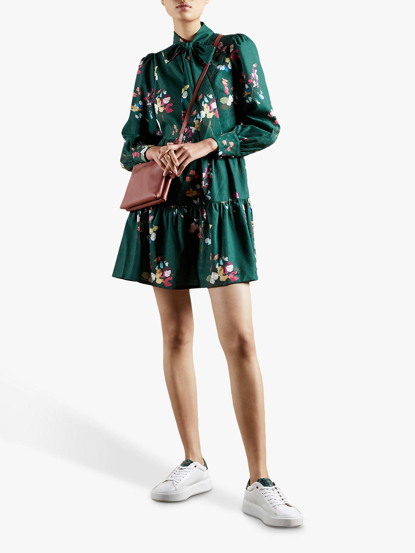 Buy Ted Baker Alinaa Floral Print Tiered Mini Dress, Mid Green, 6 Online at johnlewis.com