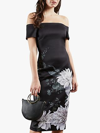 Ted Baker Peaony Floral Print Bardot Dress, Black