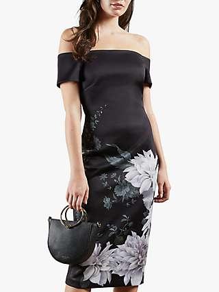 Ted Baker Peaony Floral Print Bardot Dress, Black
