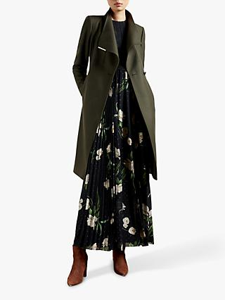 Ted Baker Rose Belted Wool Blend Coat, Olive