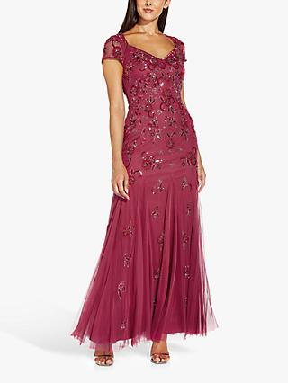Adrianna Papell Beaded Covered Floral Maxi Gown, Dusty Rouge