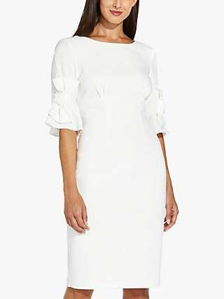 Adrianna Papell Knit Sheath Knee Length Dress, Ivory