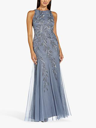 Adrianna Papell Beaded Covered Halterneck Floral Maxi Gown, Dusty Blue
