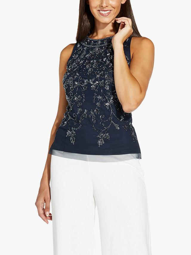 Adrianna Papell short sleeve beaded top in Midnight