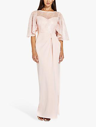 Adrianna Papell Flutter Sleeve Laced Maxi Gown, Light Blush
