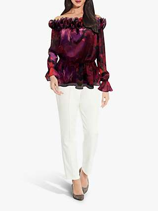 Adrianna Papell Chiffon Ruffle Floral Top, Pink/Black