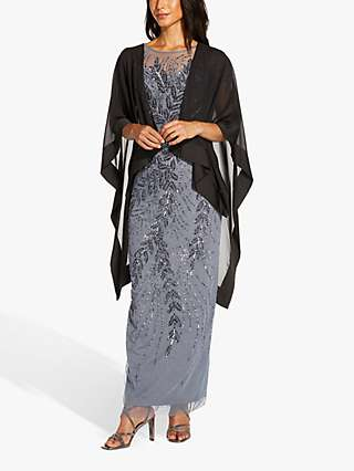 Adrianna Papell Chiffon Cape Cover Up, Black