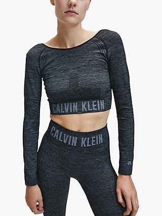 Calvin Klein Performance Long Sleeve Cropped Top, CK Black Heather
