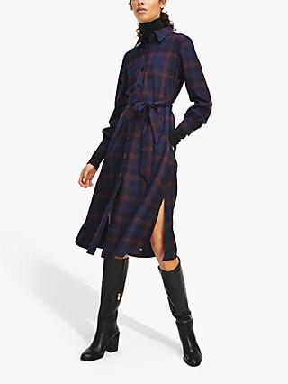 Tommy Hilfiger Check Midi Shirt Dress, Shadow Check/Deep Rouge
