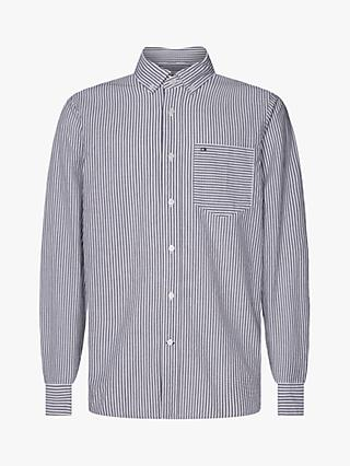 Calvin Klein Stripe Pocket Cotton Shirt, Heather Stripe/Black/White