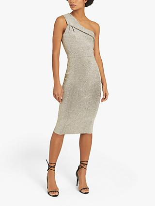 Reiss Lordes Metallic One Shoulder Bodycon Dress, Silver