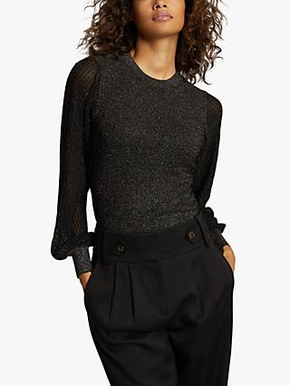 Reiss Stella Metallic Puff Sleeve Top
