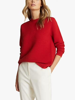Reiss Skye Zip Back Ribbed Jumper, Red