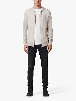 AllSaints Mode Merino Wool Zip Up Hoodie