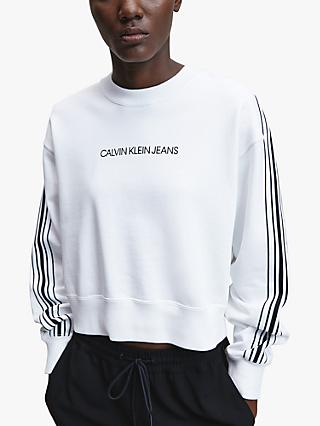 Calvin Klein Performance Stripe Tape Cropped Sweatshirt, Bright White
