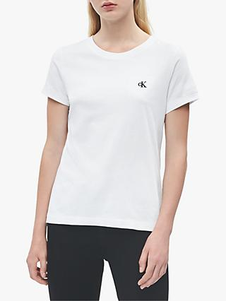 Calvin Klein Performance Embroidery Slim Tee, Bright White