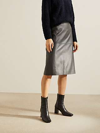 Modern Rarity Leather Pencil Skirt, Charcoal