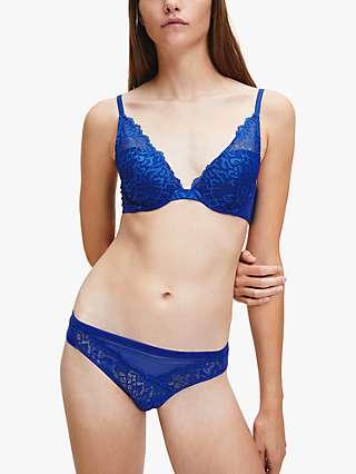 Calvin Klein Plunge Lace Bra, Bright Blue