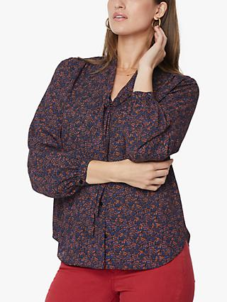 NYDJ Pintuck Abstract Print Bow Tie Neck Blouse, Blue Harbour