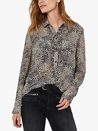 Mint Velvet Lottie Abstract Animal Print Blouse, Beige/Black