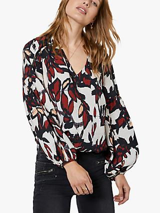 Mint Velvet Rio Leaf Print Puff Sleeve V-Neck Blouse, Off-White/Multi