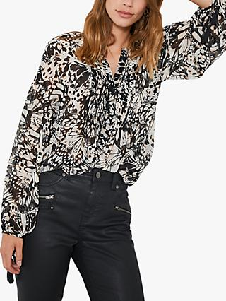 Mint Velvet Kelly Abstract Butterfly Print Blouse, Multi