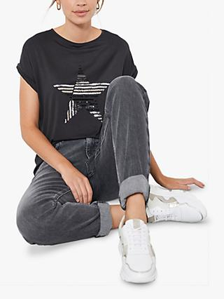 Mint Velvet Star Motif T-Shirt, Dark Grey
