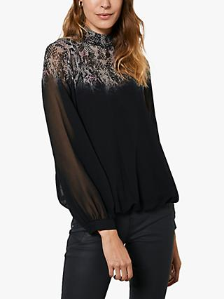 Mint Velvet Abstract Funnel-Neck Top, Black