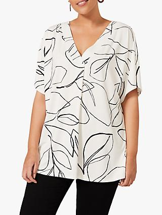 Studio 8 Angela Leaf Top, White/Black