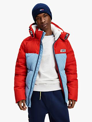 Tommy Jeans Colour Block Hooded Jacket, Deep Crimson/Vintage Denim