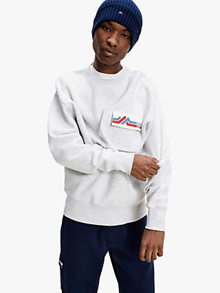 Tommy Jeans Logo Pocket Sweatshirt, Silver Grey