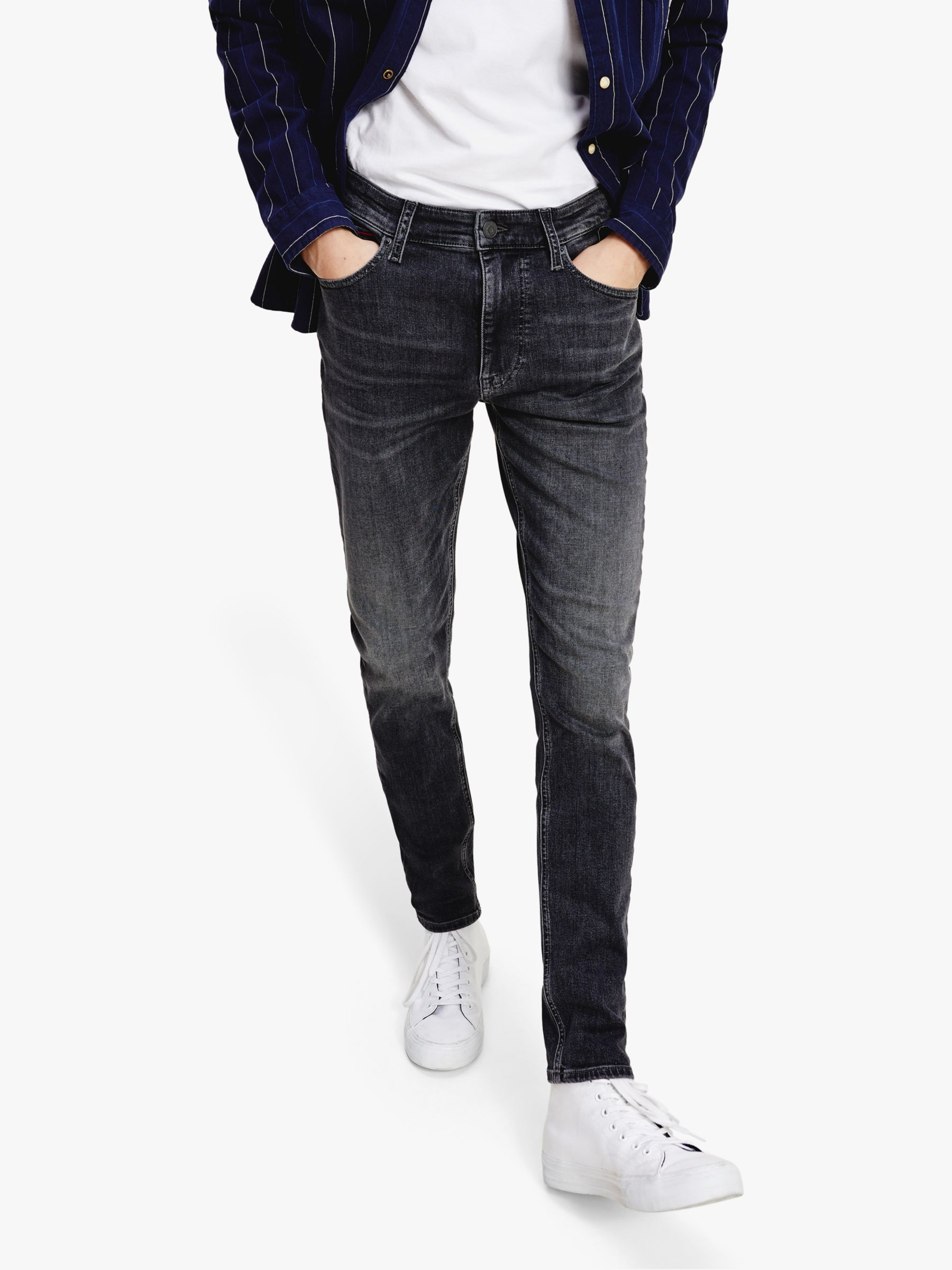 Black Tommy Jeans Men/'s Simon Skinny Jeans